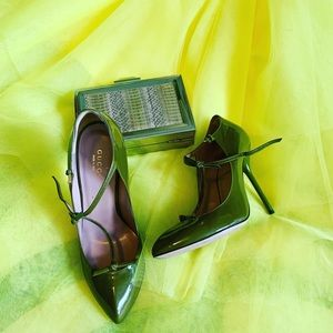 Gucci patent Beverly t-strap pumps- Olive green
